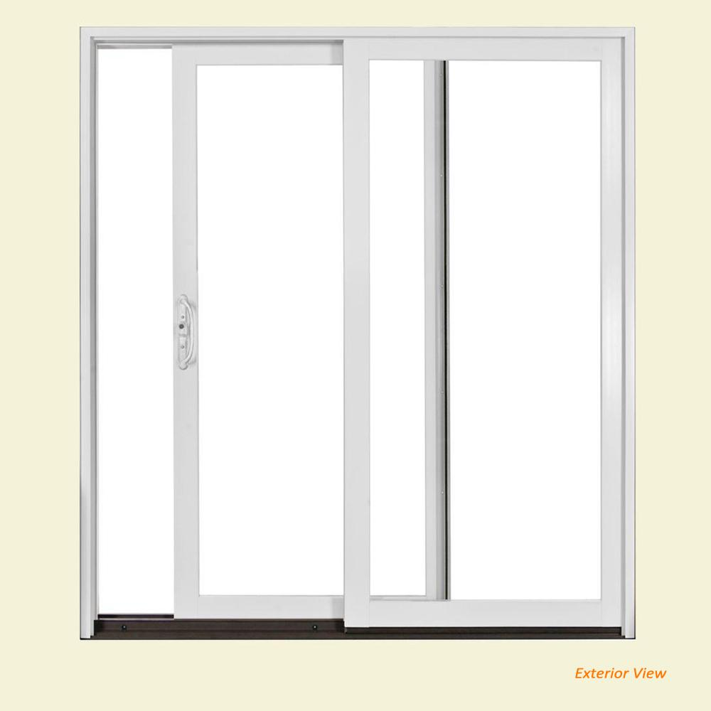 W-2500 Brilliant White Wood Clad Left-Hand Full Lite Sliding Patio Door w/Unfinished Interior  sc 1 st  Home Depot & JELD-WEN 72 in. x 80 in. W-2500 Brilliant White Wood Clad Left-Hand ...