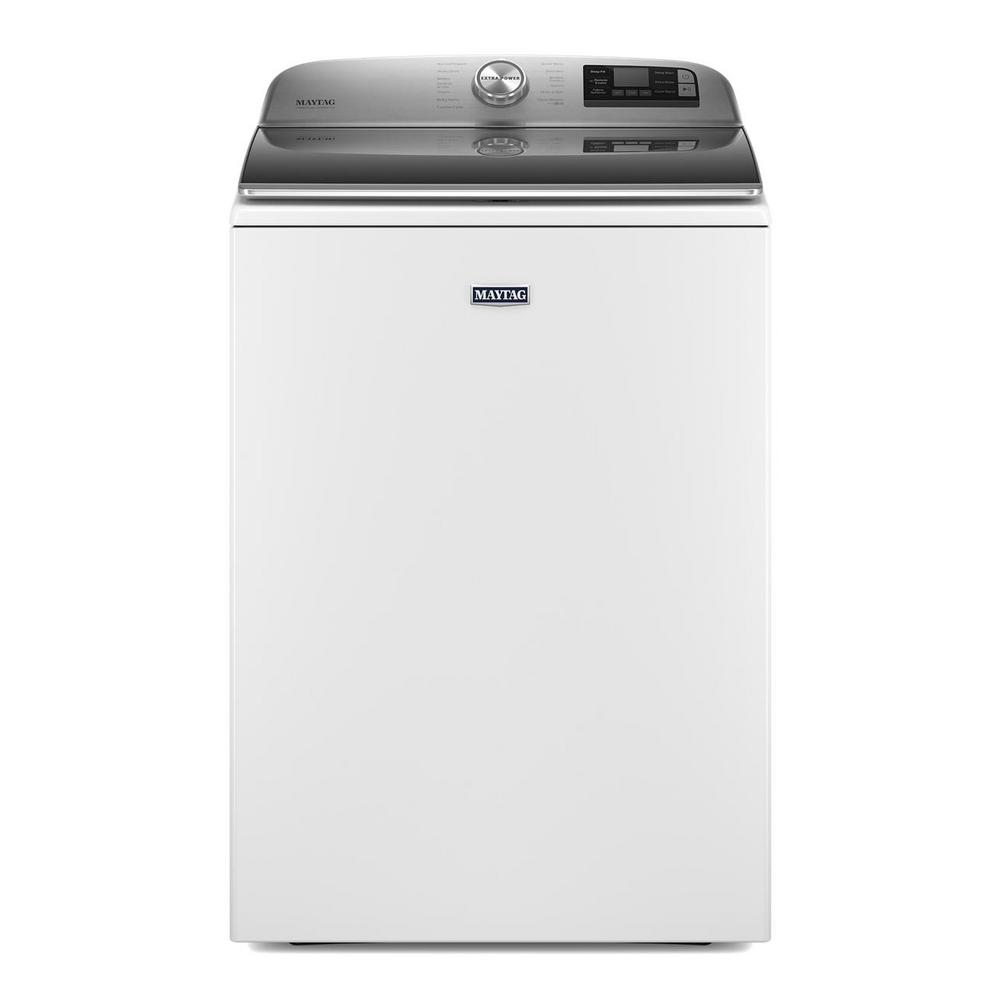 Maytag 5 2 Cu Ft Smart Capable White Top Load Washing Machine With Extra Power Button Energy Star Mvw7230hw The Home Depot