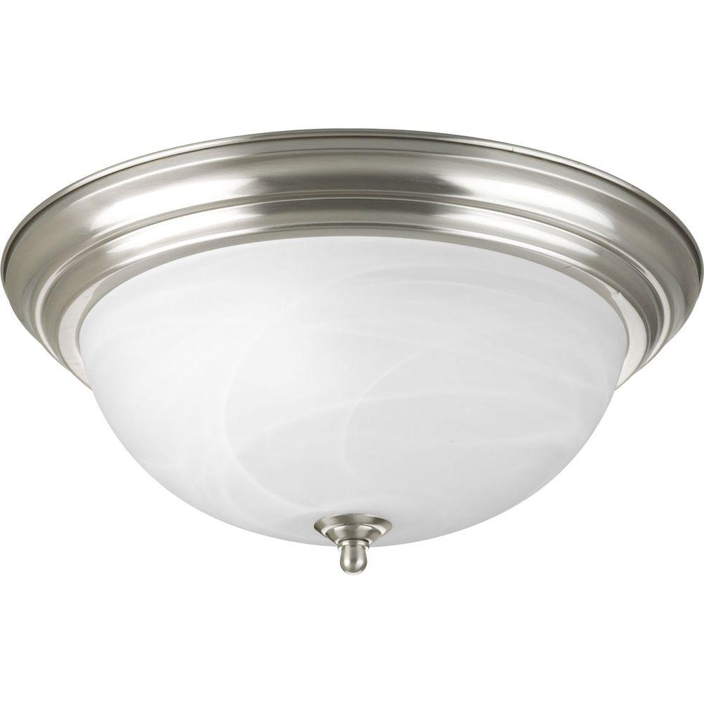 Progress Lighting 15.25 in. 3-Light Brushed Nickel Flush Mount with ...