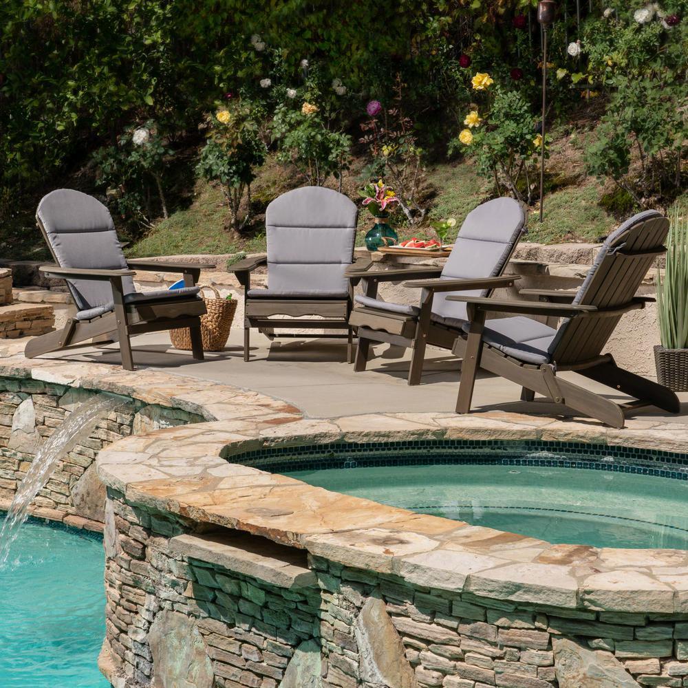 Malibu Grey Wood Adirondack Chair with Grey Cushion (4-Pack)