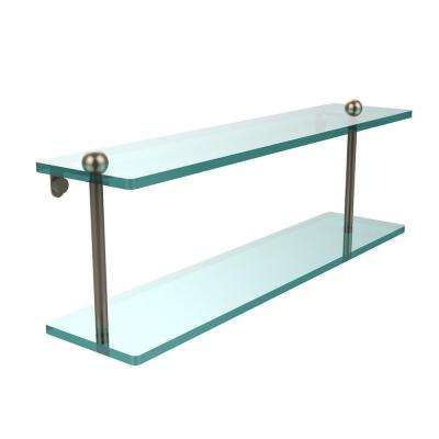 22 in. L  x 8 in. H  x 5 in. W 2-Tier Clear Glass Vanity Bathroom Shelf in Antique Pewter