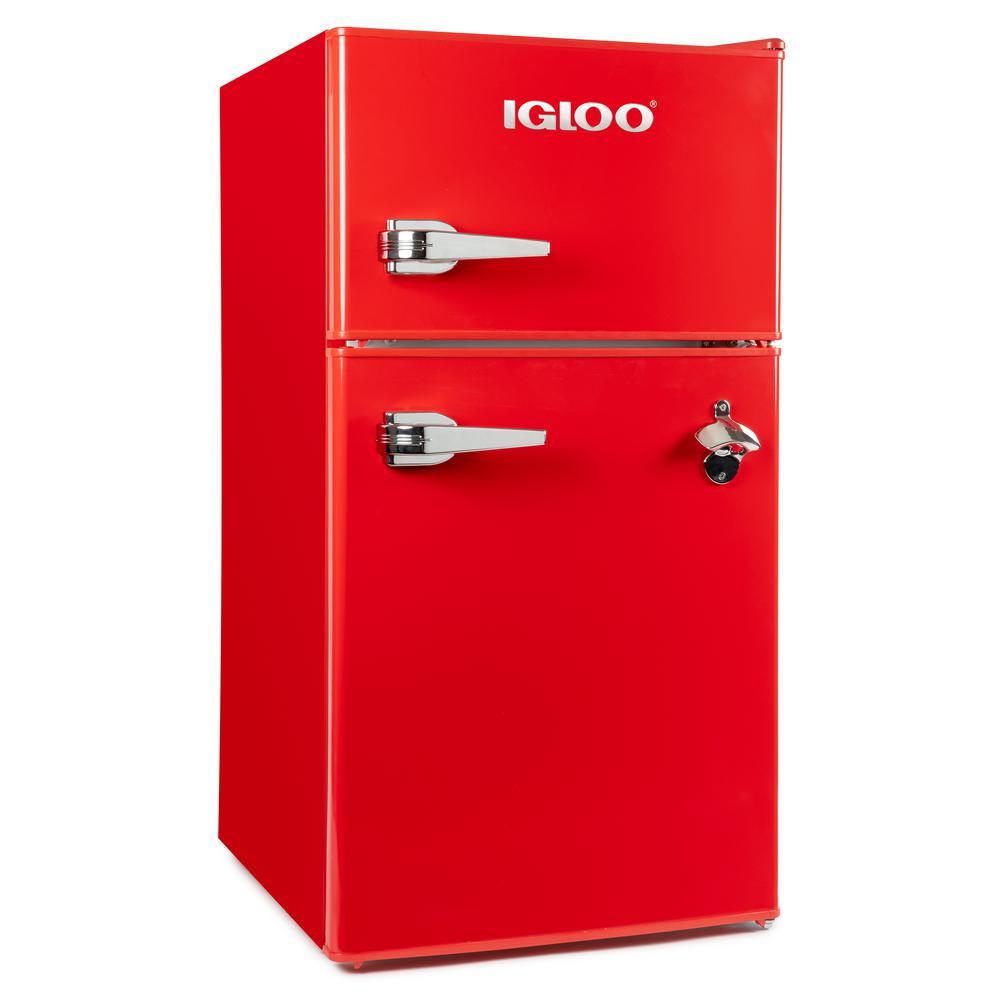 3.2 cu. ft. Classic Compact Double Door Mini Fridge Freezer, Red