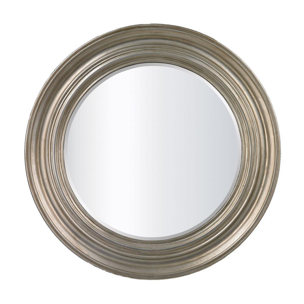 Fullerton 31 in. Round Antique Silver Leaf Framed Mirror