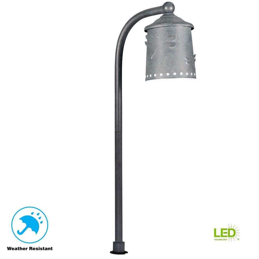 Hampton Bay Low-Voltage Rustic Iron Outdoor Integrated LED Landscape Path Light with Shade Details