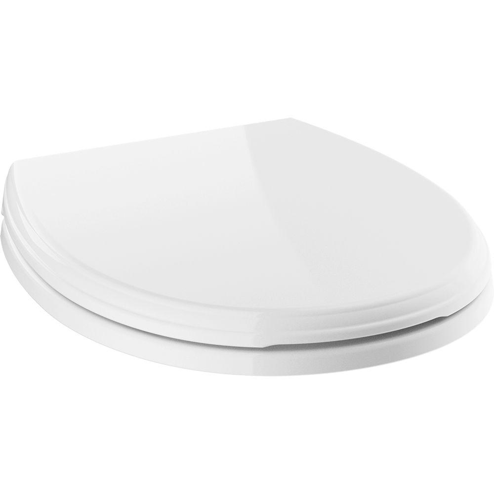 Delta Wycliffe Slow-Close Round Closed Front Toilet Seat with NoSlip Bumpers in White