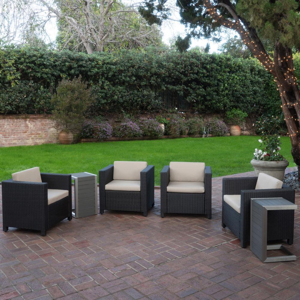 Puerta Dark Brown 6-Piece Wicker Patio Conversation Set with Beige Cushions