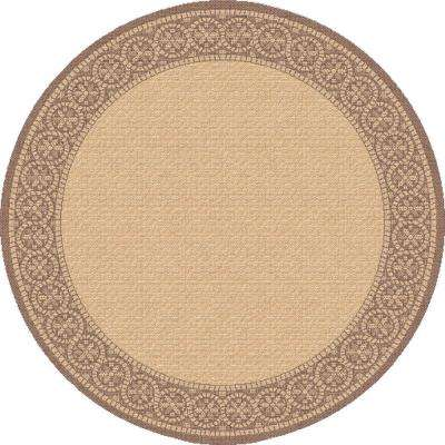 Piazza Natural/Brown 5 ft. x 5 ft. Round Indoor/Outdoor Area Rug