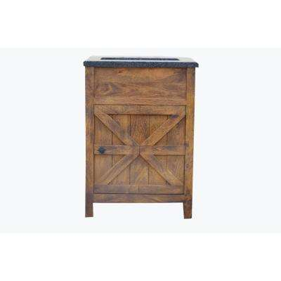 Traditional 24 in. W Single Barn Door Vanity in Antique Finish