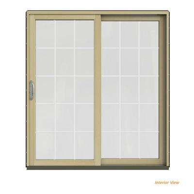 72 in. x 80 in. W-2500 Contemporary Black Clad Wood Right-Hand 15 Lite Sliding Patio Door w/Unfinished Interior