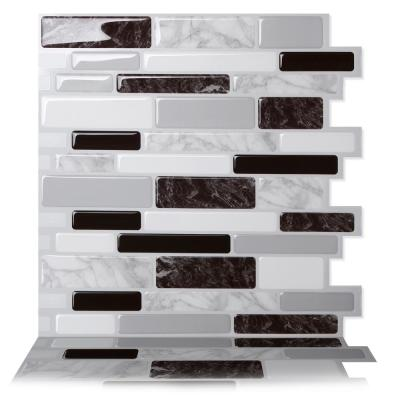 Polito Black and White 10 in. W x 10 in. H Peel and Stick Self-Adhesive Decorative Mosaic Wall Tile Backsplash (5-Tiles)