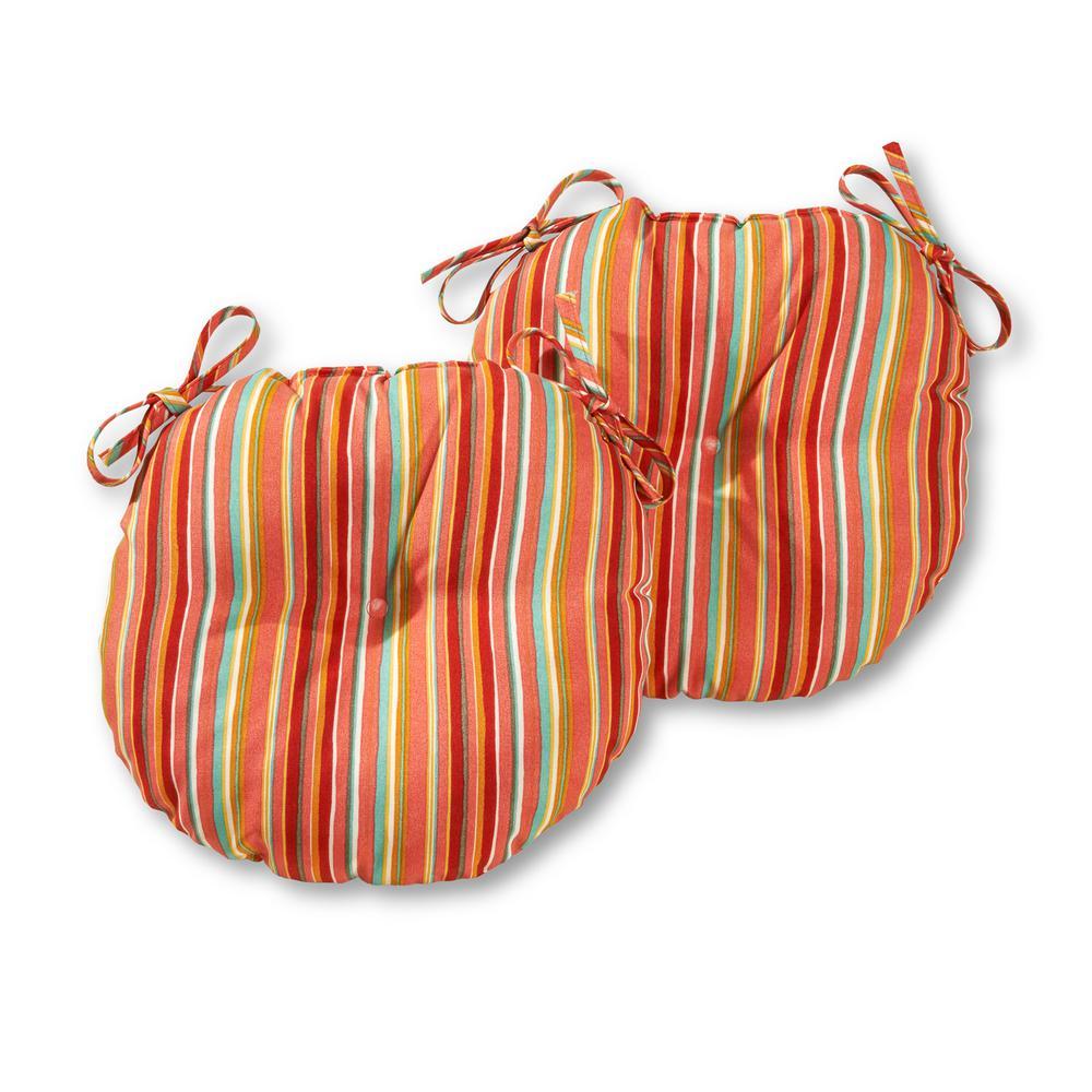Watermelon Stripe 15 in. Round Outdoor Seat Cushion (2-Pack)