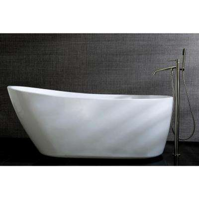 Fusion 59 in. Acrylic Front Drain Flatbottom Freestanding Bathtub in White