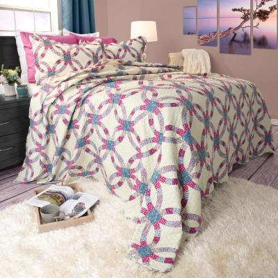 Wedding Ring Blue Polyester King Quilt