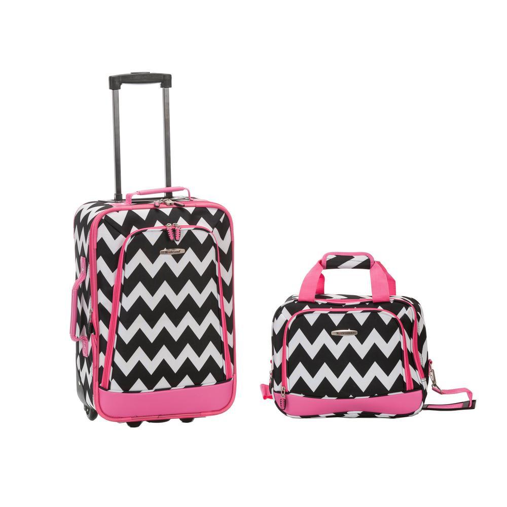 Rockland Rio Expandable 2-Piece Carry On Softside Luggage Set, Pinkchevron