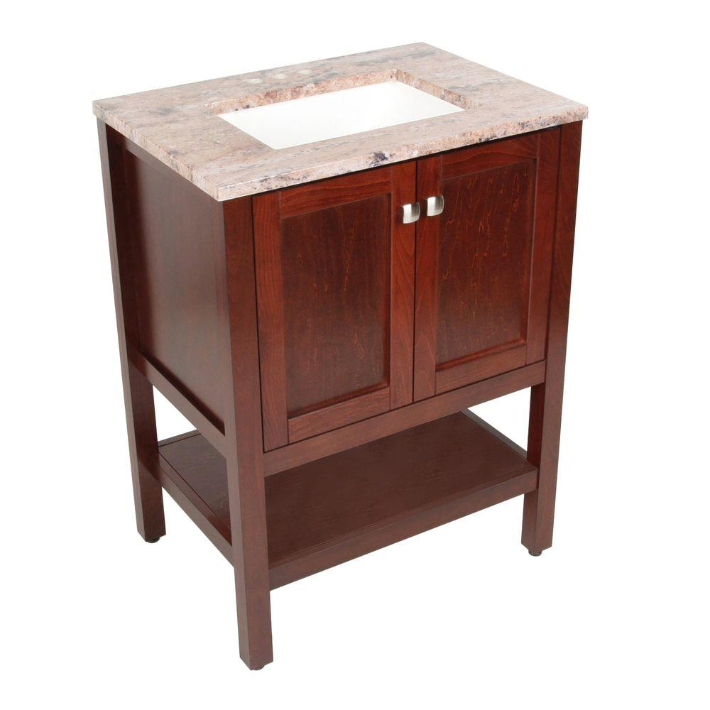 St. Paul Sydney 26 in. Vanity in Dark Cherry with Stone Effects Vanity Top in Bordeaux