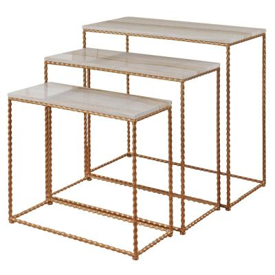 Nested Gold Powder Coated Faux Marble Tops Petite Console Set