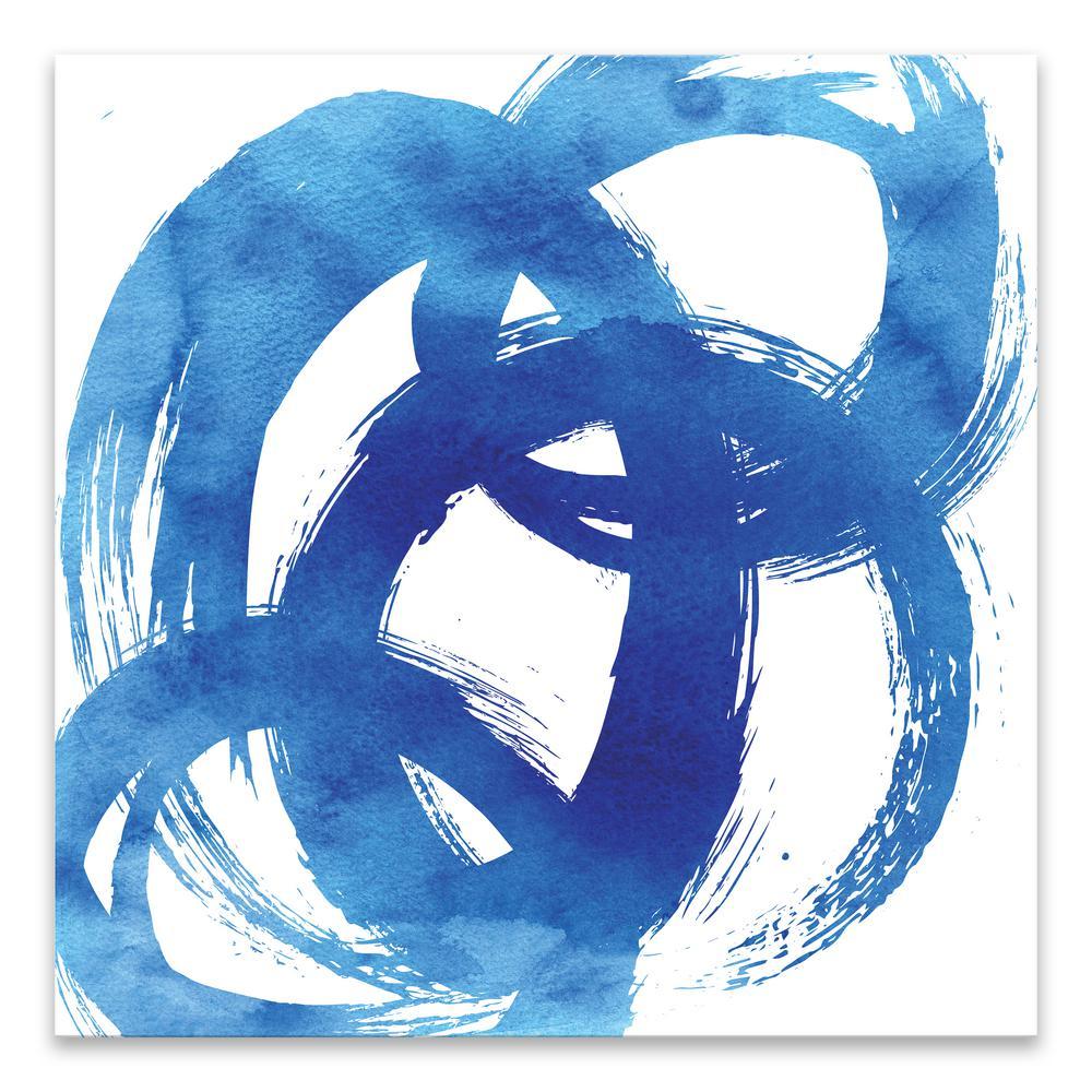 """Blue Swoosh"" by Nikki Chu Coated Embellished Canvas Wall Art"
