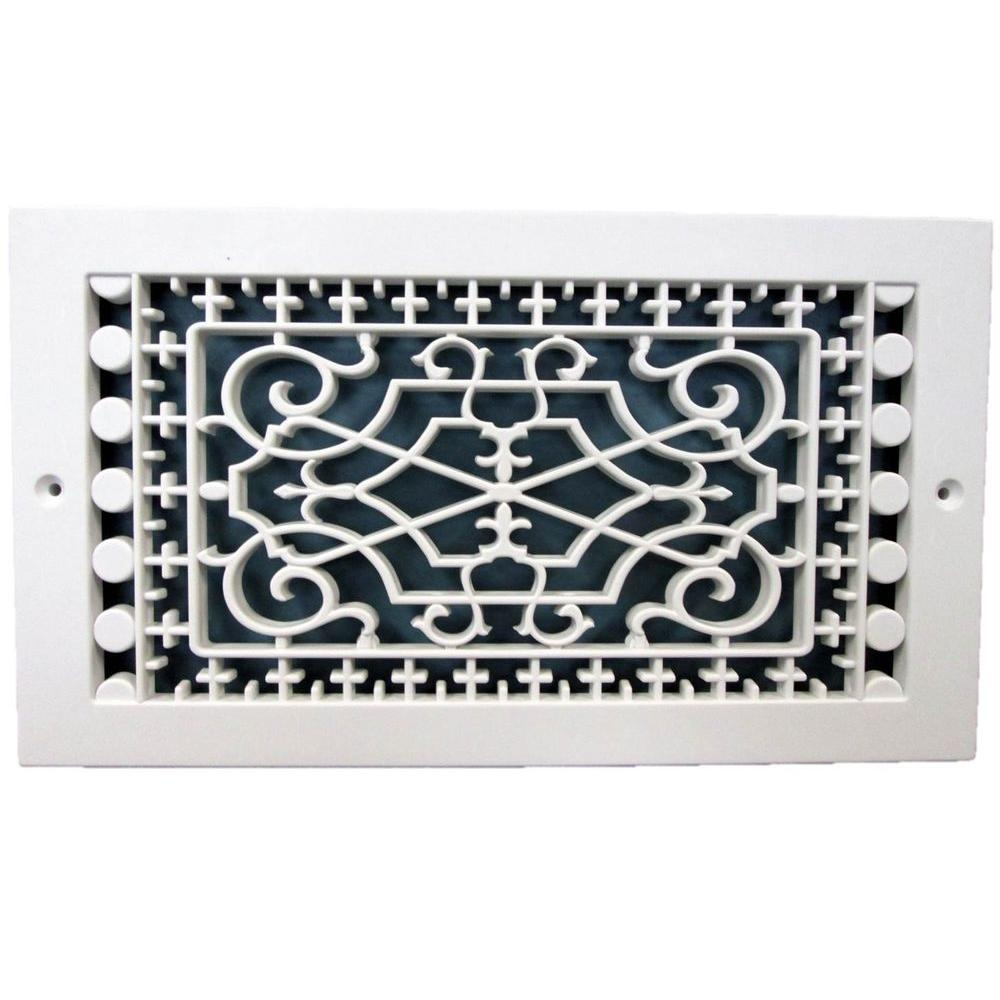 SMI Ventilation Products Victorian Base Board 10 in. x 6 in., 7-3/4 in. x 11-3/4 in. Overall Size, Polymer Decorative Return Air Grille, White