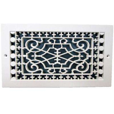 Victorian Base Board 6 in. x 10 in., 7-3/4 in. x 11-3/4 in. Overall Size, Polymer Decorative Return Air Grille, White