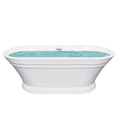 67 in. Acrylic Center Drain Oval Flatbottom Non-Whirlpool Freestanding Bathtub in White with Overflow