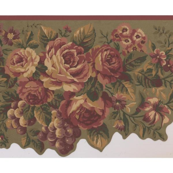Retro Art Cherry Red Flowers Peony Daisies Violet Grapes Sage Green