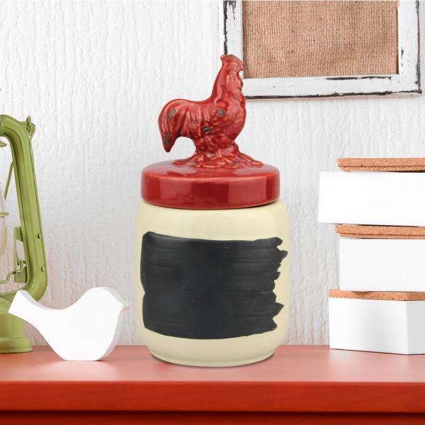 Red Ceramic Rooster Top Canister
