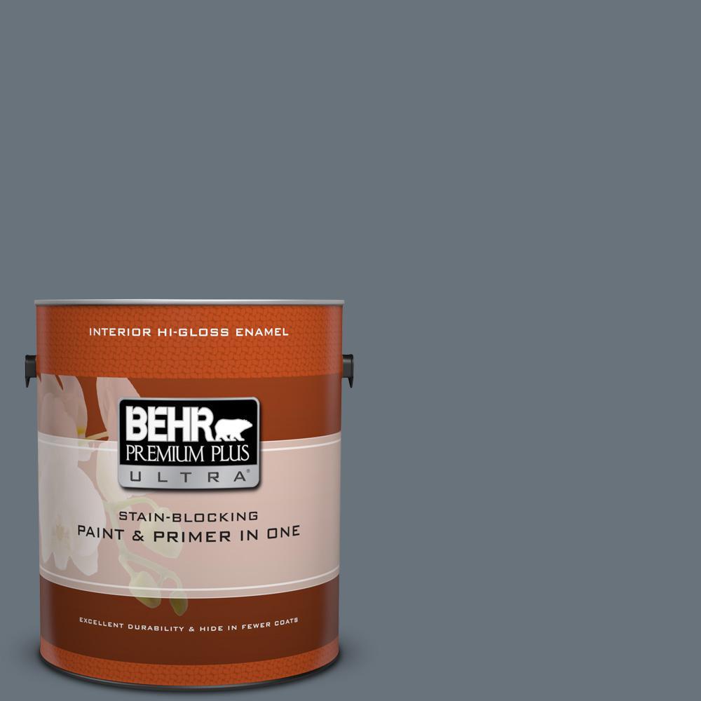 1 gal. #750F-5 Silver Hill Hi-Gloss Enamel Interior Paint