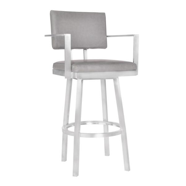 Armen Living Balboa 26 in. Gray Swivel Bar Stool LCBBARBABSVG26