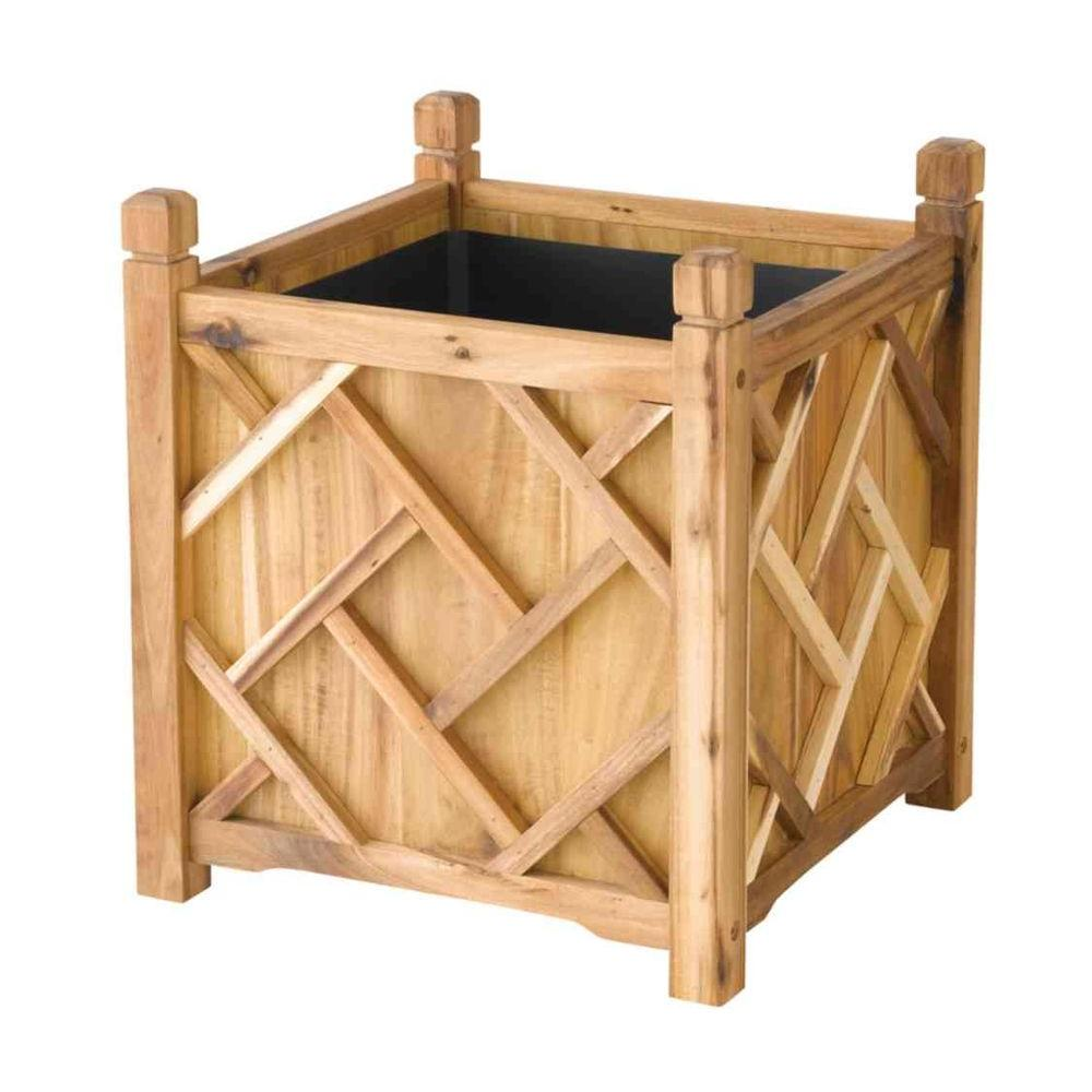 DMC Chippendale 18 in. Square Natural Wood Planter