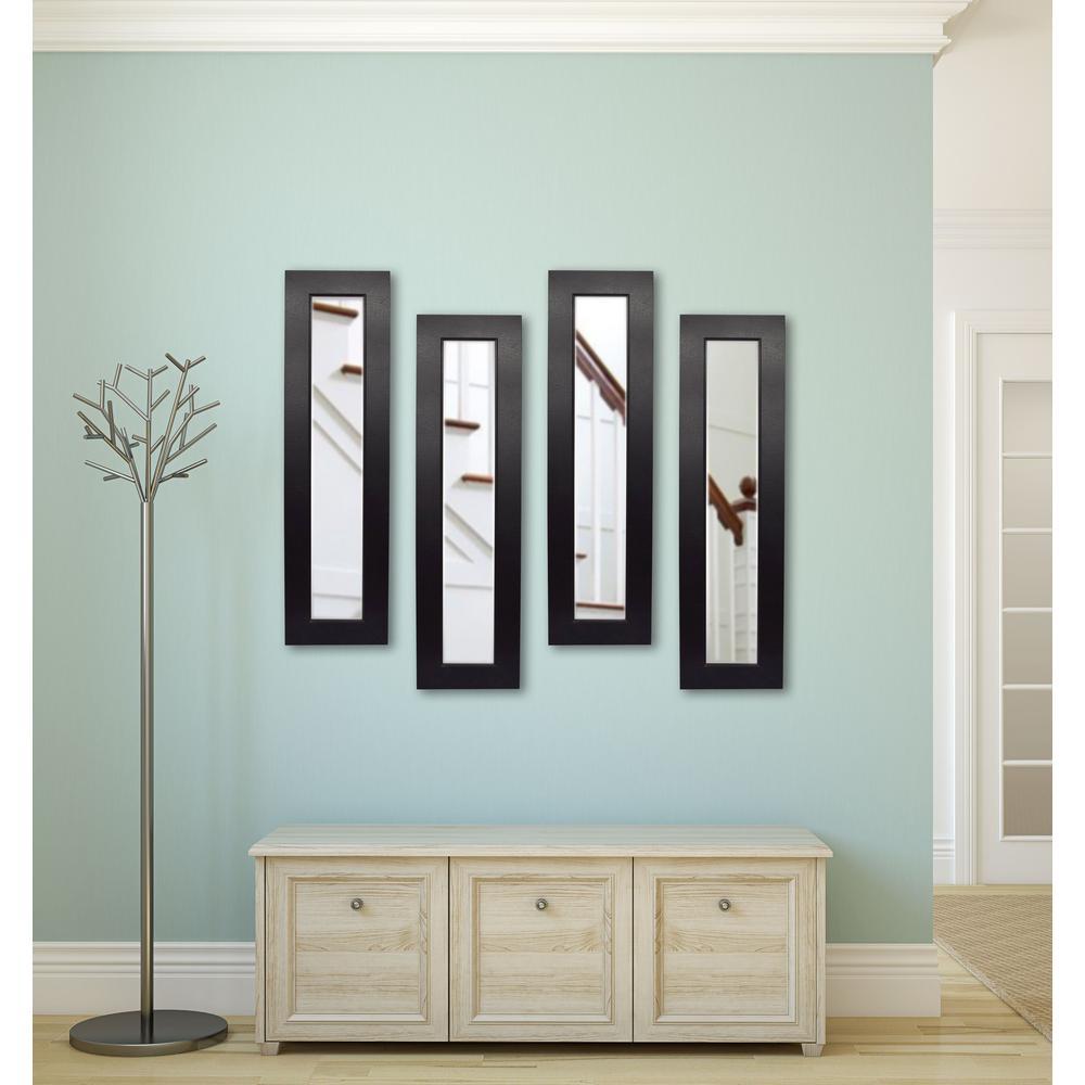 11 in. x 39 in. Black Vanity Superior Mirror(Set of 4)