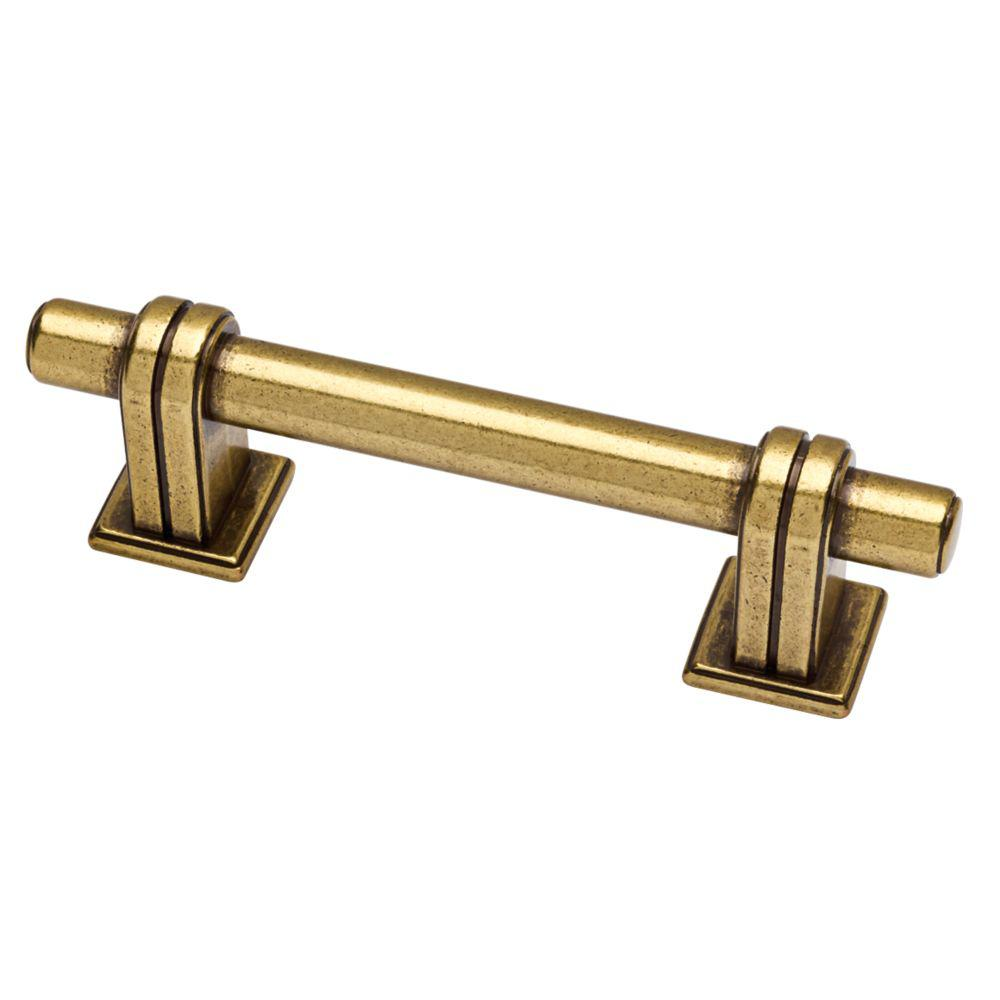 Martha Stewart Living Rustic Industrial 3 in. (76mm) Center-to-Center Bedford Brass Bar Drawer Pull
