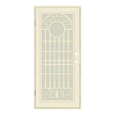 32 in. x 80 in. Spaniard Beige Hammer Left-Hand Surface Mount Aluminum Security Door with Beige Perforated Metal Screen