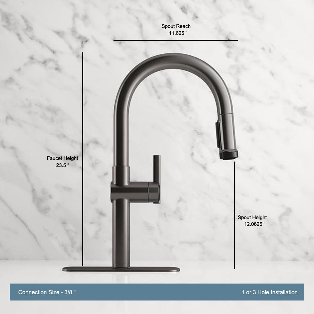 Kohler Rune Single Handle Pull Down Sprayer Kitchen Faucet In Black Stainless K R22153 Sd Bls The Home Depot