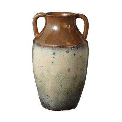 17 in. Earthenware Decorative Olive Jar in Brown and Cream