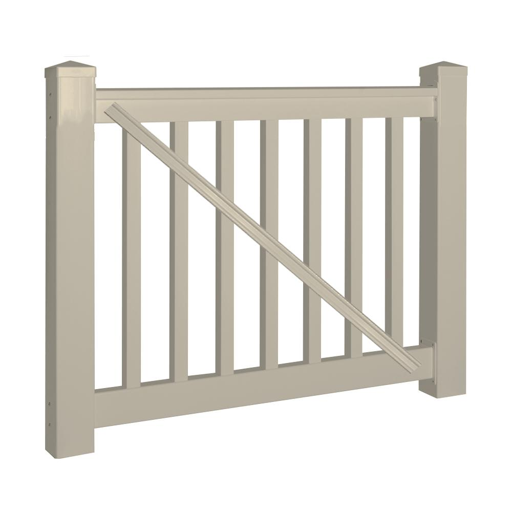 Weatherables vanderbilt 3 5 ft h x 5 ft w khaki vinyl railing gate kit wkg thdv42 s60 the - Vinyl railing reviews ...