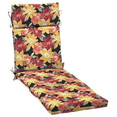 21 in. x 42.5 in. Ruby Abella Floral Outdoor Chaise Lounge Cushion