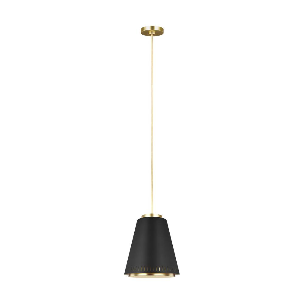 ED Ellen DeGeneres Crafted by Generation Lighting Carter 1-Light Matte Black and Burnished Brass Inner Shade Pendant