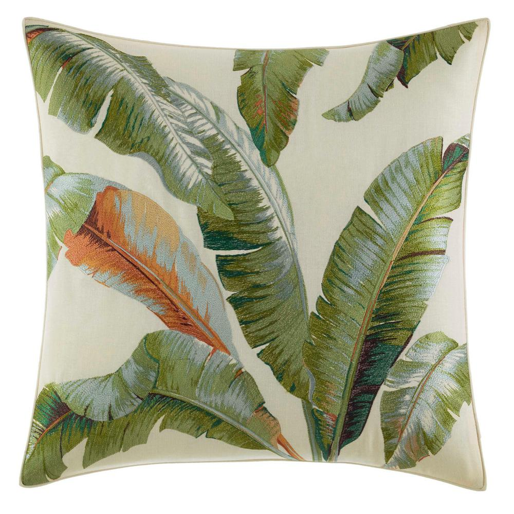 Palmiers Embroidered Palm 20 in. x 20 in. Throw Pillow, Medium Green Embellish your bed with a tropical accent with the Tommy Bahama Palmiers Palm Square Throw Pillow. With a dramatic foliage print in deep greens and neutral tones, this square throw pillow gives off a relaxing vibe and blends well with any decor. Dimensions: (20 in. x 20 in.). Color: Medium Green.