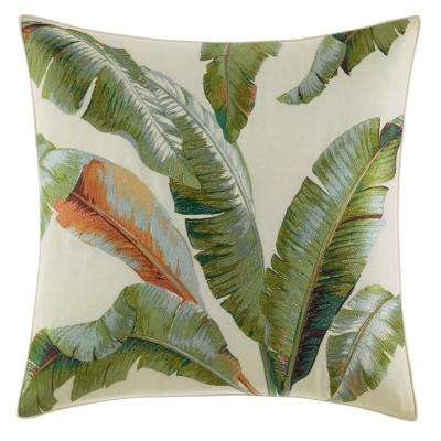 Palmiers Embroidered Palm 20 in. x 20 in. Throw Pillow