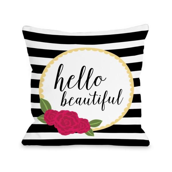 Hello Beautiful 16 In X 16 In Decorative Pillow 74258pl16 The