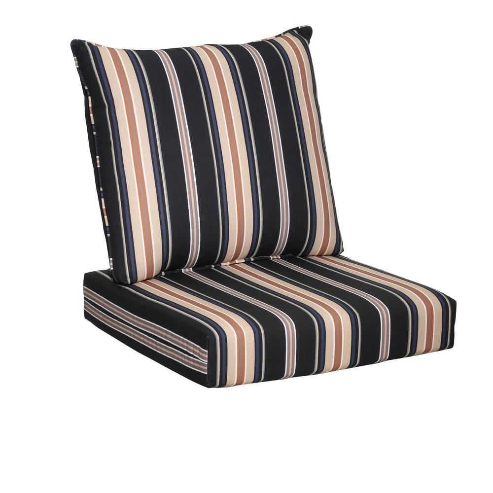 Caprice Stripe 2 Piece Deep Seating Outdoor Lounge Chair Cushion