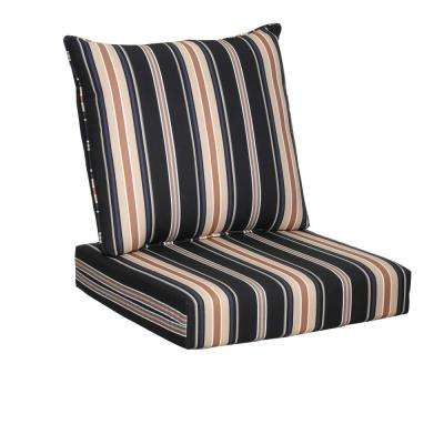Caprice Stripe 2-Piece Deep Seating Outdoor Lounge Chair Cushion