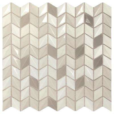 Premier Accents Stone Gray Mini Chevron 12 in. x 12 in. x 6 mm Glass Mosaic Wall Tile (0.96 sq. ft. / piece)