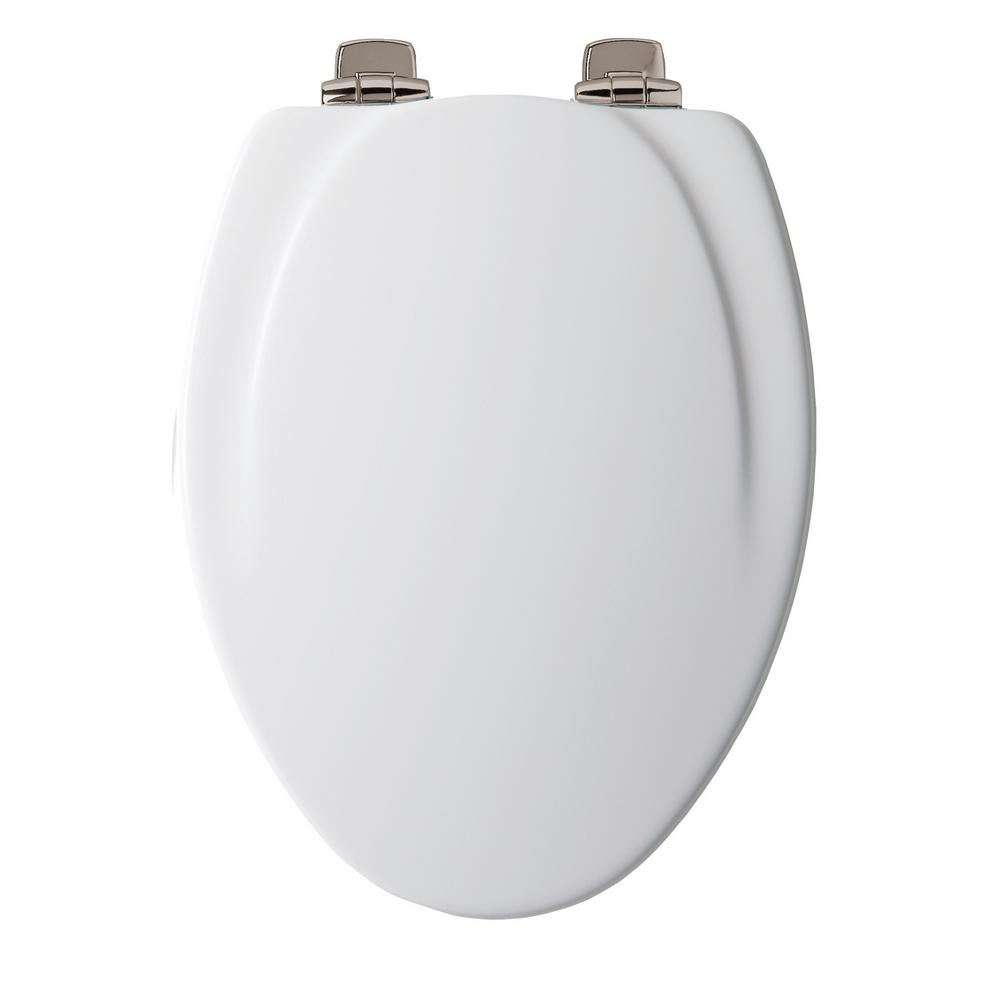 Slow Close Elongated Closed Front Toilet Seat in White