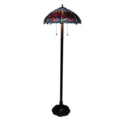 Dragonfly 58 in. Antique Bronze Floor Lamp with Pull Chain