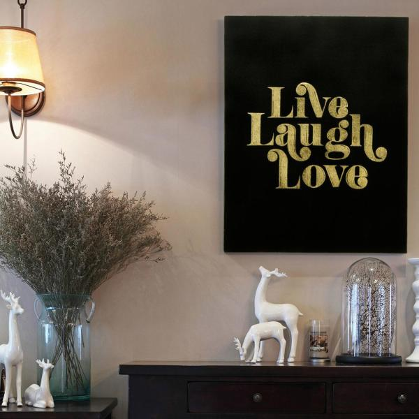 Live Laugh Love Gallery Wrap Gold Stamped Canvas