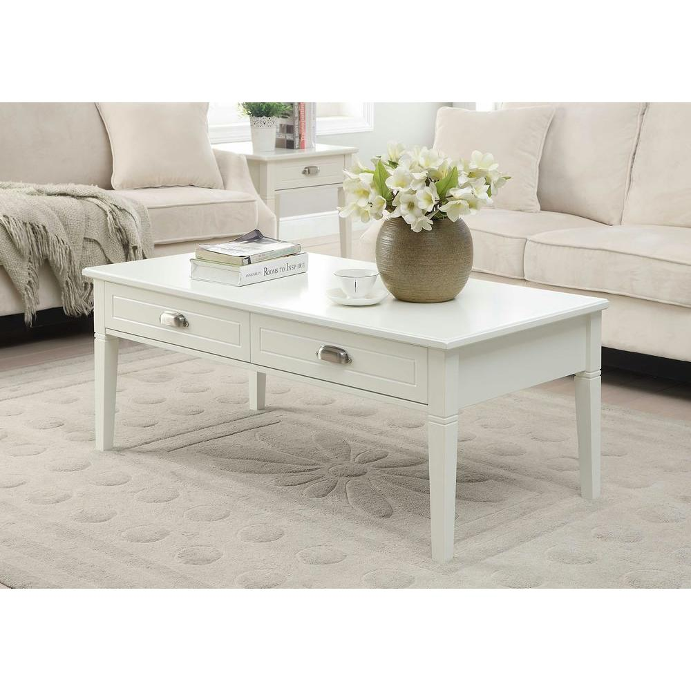 2 Drawer Coffee Table In White