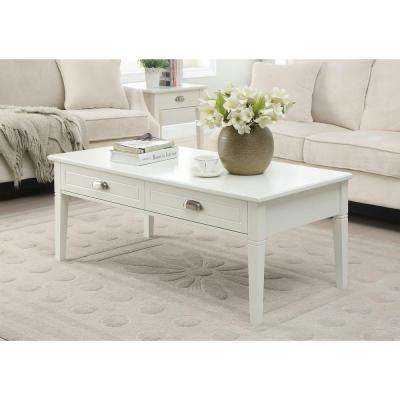 Amelia 47.5 in. x 23.5 in. 2-Drawer Coffee Table in White