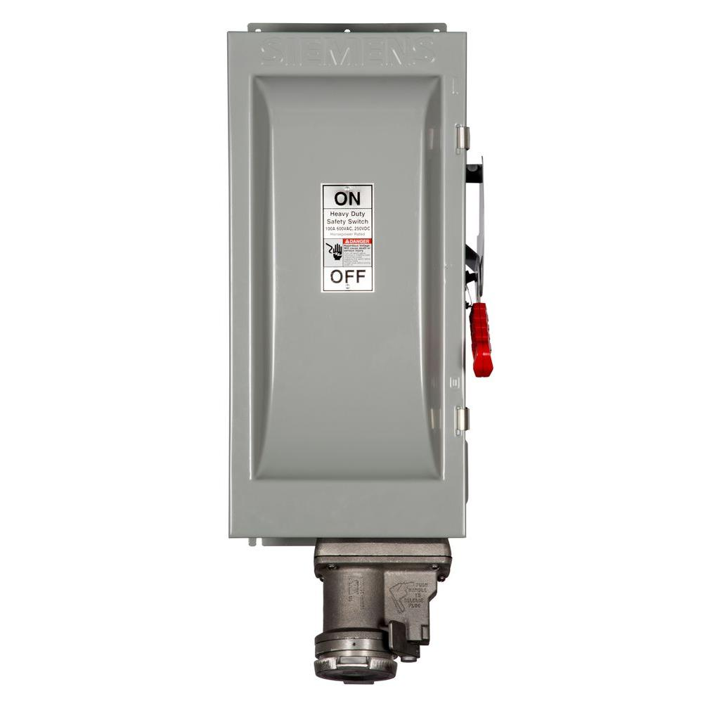 Siemens Heavy Duty 100 Amp 600-Volt 3-Pole Type 12 Fusible Safety Switch with Receptacle