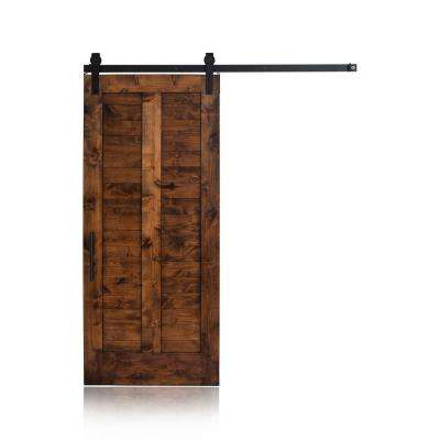 36 in. x 96 in. Unassembled Plantation Wood Stained Barn Door with Garrick Sliding Hardware Kit and Falcon Pull